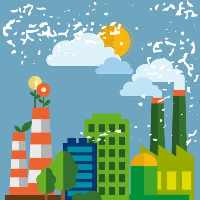 illustrazione città ecosostenibile